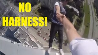 Russians Perform Insane Tricks on the Top of a Skyscraper