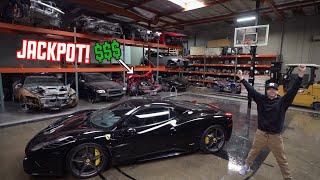 WRECKED Ferrari 458 Parts shopping in a EXOTIC Junkyard!