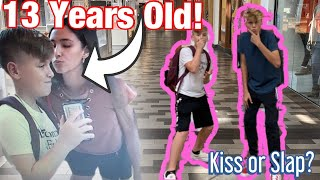 CRAZY KISS OR SLAP AT THE MALL!!! *13 Years Old*