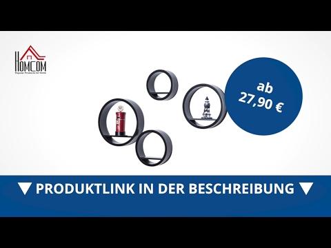 Homcom Bücherregal Wandregal Regal rund schwarz 4 tlg. Set - direkt kaufen!