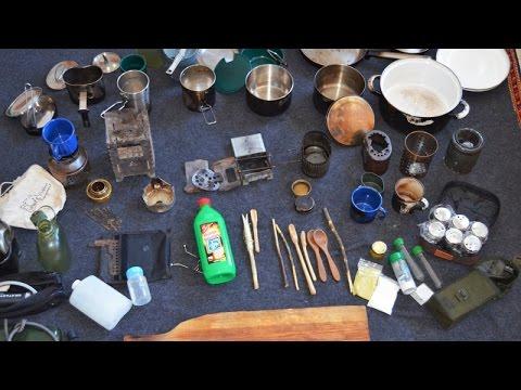 Ausrüstung #3 - CAMPING KOCHGESCHIRR:  Gewürze, Töpfe, Pfannen, Hobo Kocher, Wasser-Behälter u.v.m.
