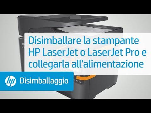 Disimballare e collegare la stampante HP LaserJet alla rete di alimentazione