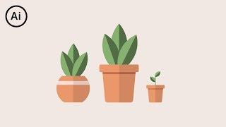 Flat Design Potted Plants | Illustrator CC Tutorial