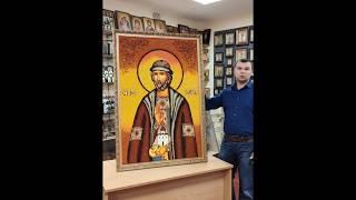 Икона из янтаря Святой благоверный князь Олег Брянский 20х15 см от компании Іконна лавка - видео