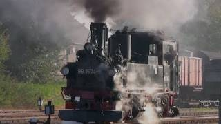 preview picture of video 'Dampflok: Die sächsische IV K - 1/3 - 99 1574 der Döllnitzbahn - Steam Train'