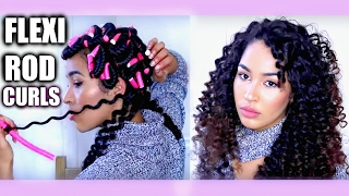 Heatless Curly Hair Tutorial - FLEXI RODS/ BENDY ROLLERS On Natural Hair | Heatless Curls