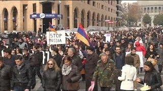 Акция протеста в Ереване против вступления Армении в Таможенный союз