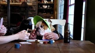 Bulldog Playing Poker And Smoking Cigar