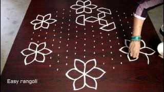 flower kolam designs with 15x8 interlaced dots || chukkala muggulu || easy rangoli designs with dots