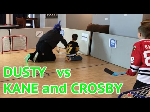 Kids HocKey Knee Hockey Dusty surprises the boyz for an epic rematch- Kane & Crosby vs. DuSty!