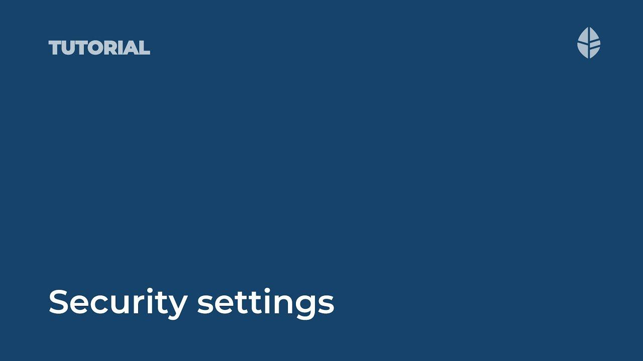 Security settings Video Thumbnail