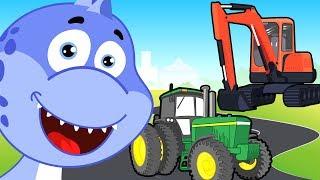 Мультики про машинки - Динозавр, Экскаватор и трактор. Развивающий мультфильм для детей
