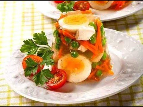 Заливное с мясом от Луча  праздничный стол. 肉冻. Aspic with meat. ऐस्प मांस के साथ