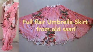 Full Flair Umbrella Skirt With Elastic  From Old Saari Diy.