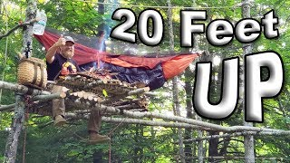 Bear Safe Hammocking 20 Feet High Up A Tree Solo Overnight Camping (87 Days Ep. 32)