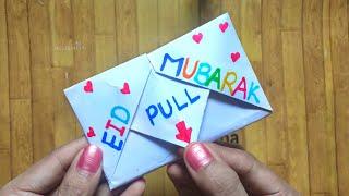 Eid Mubarak card / SURPRISE MESSAGE CARD FOR EID / Pull Tab origami card / letter folding origami