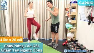 Chạy Nâng Cao Gối Chạm Tay Ngang Hông   Nữ   Junie HLV Ryan Long Fitness