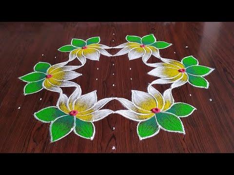 dotted rangoli design lotus 11 * 6 dots by sresta