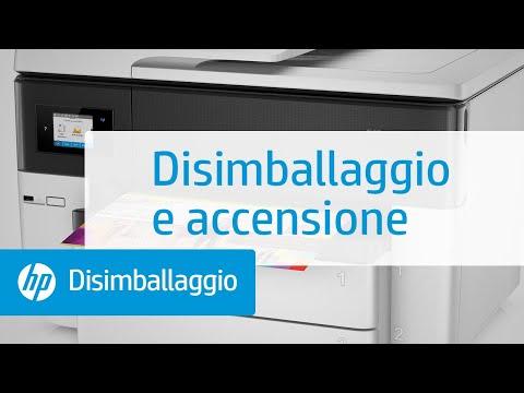 Disimballaggio e accensione delle stampanti per grandi formati delle serie HP OfficeJet Pro 7730, 7740 All-in-One