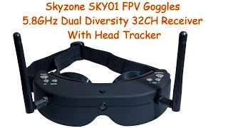 Skyzone FPV Goggles 5.8GHz Dual Diversity 32CH Receiver With Head Tracker