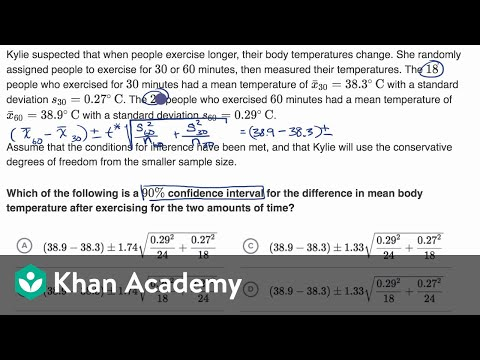 Calculating confidence interval for difference of means