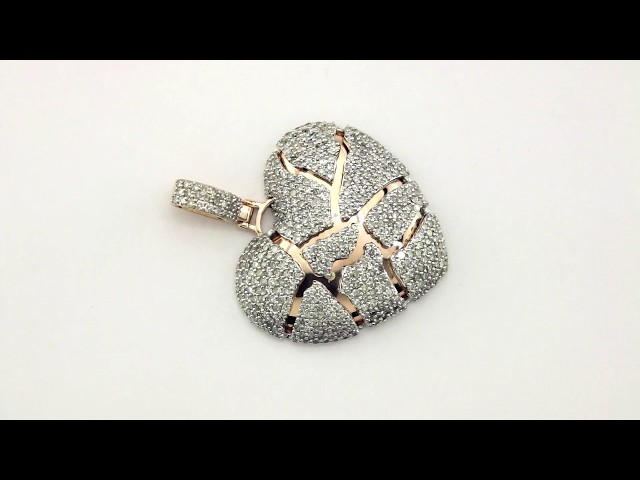 Diamond broken heart pendant in 10k rose gold 265 ctw details aloadofball Choice Image