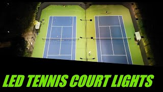 LED Tennis Court Lights - Actual Installation, Fc & Drone Footage -LED Sports Light Vs Metal Halide
