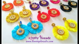 How To Make Beautiful Silk Thread Tassel Earrings With Quilled Studs | DIY | Www.knottythreadz.com