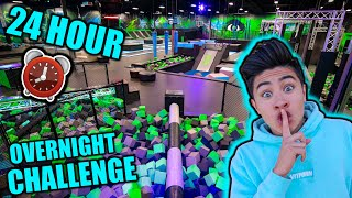 24 HOUR OVERNIGHT CHALLENGE in TRAMPOLINE PARK!