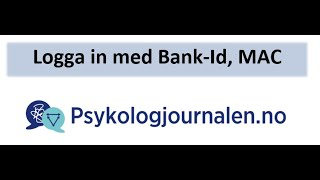 Psykologjournalen.no veiledning når Bank ID ikke starter på en MAC