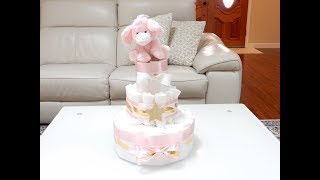 The Most Beautiful Diaper Cake - In Pink, Gold, And White With An Elephant - How To Make That