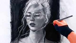 Girl Charcoal Portrait Process - Glasses and Blonde Hair 3-16