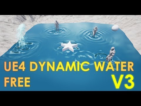 FREE Unreal Engine 4 Reactive Dynamic Water V3 Project