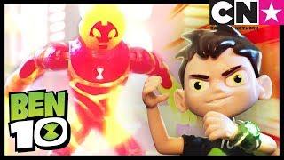 Çocuklar için Ben 10 Oyuncak Oyunları | YENİLENEN Dört Kol ve Ateş Topu Savaşları | Cartoon Network