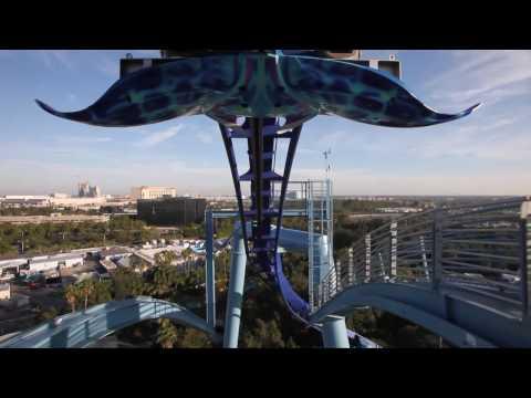 Manta Roller Coaster Front Seat POV Sea World Orlando HD