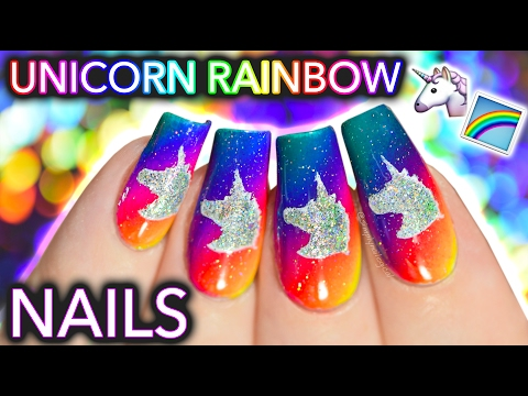 Unicorn Rainbow Nail Art  (now u can ride my nails)