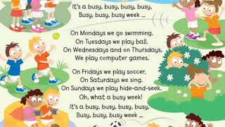 English song for children: It´s a busy busy week