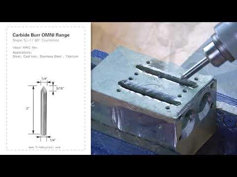 FindBuyTool Carbide Burr SJ-1 Cone 60 ° Caixa de alcance de Omni D 1/4 x 3 / 16L, 1/4 haste, 2 polegadas de comprimento total