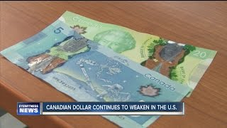 Canadian dollar continues to weaken in U.S.