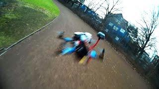 ZMR250 rear end collision on Mini H Quadcopter / FPV race crash