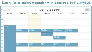 jQuery Fullcalendar Integration with Bootstrap PHP MySQL