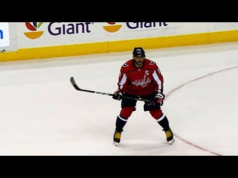Ovechkin sets up in his office to fire home PP goal