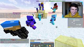 MY BIGGEST FAN WAS BANNED FOR CHEATING .. ( Minecraft Skyblock 4 )