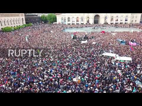 Armenia: Drone captures protest in Yerevan as Sargsyan resigns from office