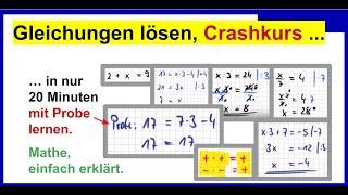 Gleichungen umstellen / lösen. Crashcurs (20 Minuten) für Klasse 7 und Klasse 8 und ...