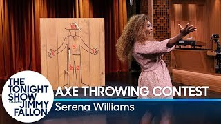 Serena Williams Challenges Jimmy to an Axe Throwing Contest | Kholo.pk