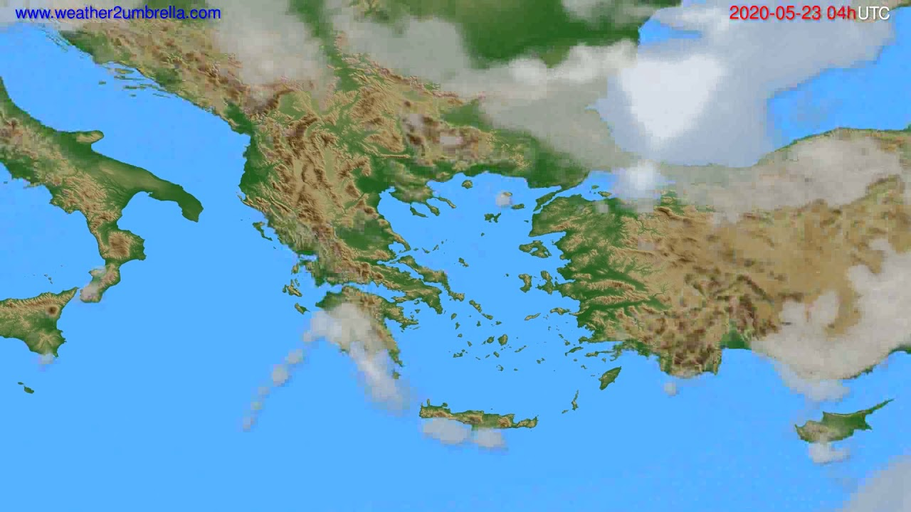 Cloud forecast Greece // modelrun: 12h UTC 2020-05-22