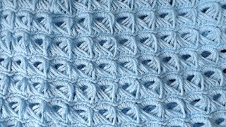 Crochet Baby Blanket (Broom Stick Stich)..