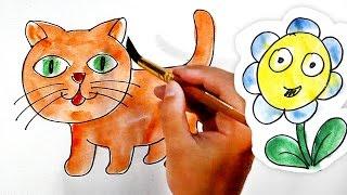 Раскраска про Кошку, Собаку и Зайчика, Ромашка.