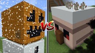 Minecraft SNOW GOLEM HOUSE VS IRON GOLEM HOUSE MOD / BUILD BATTLE !! Minecraft